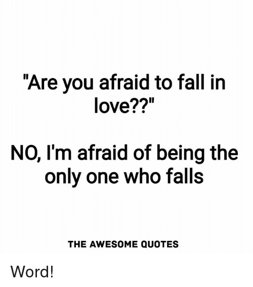 Scared To Fall In Love Quotes Beauteous Are You Afraid To Fall In Love NO I'm Afraid Of Being The Onlv One