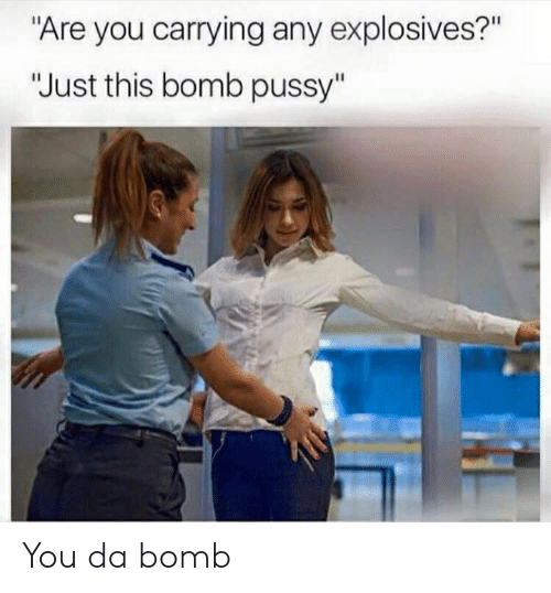 """Pussy, Bomb Pussy, and Dank Memes: """"Are you carrying any explosives?""""  """"Just this bomb pussy"""" You da bomb"""