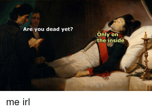are you dead yet only on the inside me irl 3095376 are you dead yet? only on the inside me irl irl meme on me me