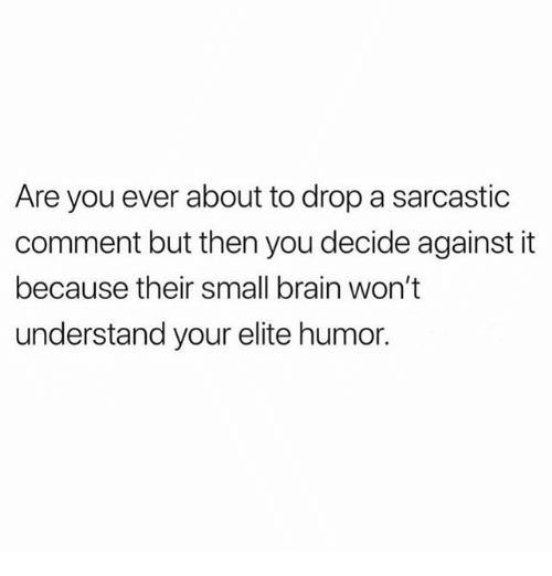 Memes, Brain, and 🤖: Are you ever about to drop a sarcastic  comment but then you decide against it  because their small brain won't  understand your elite humor.