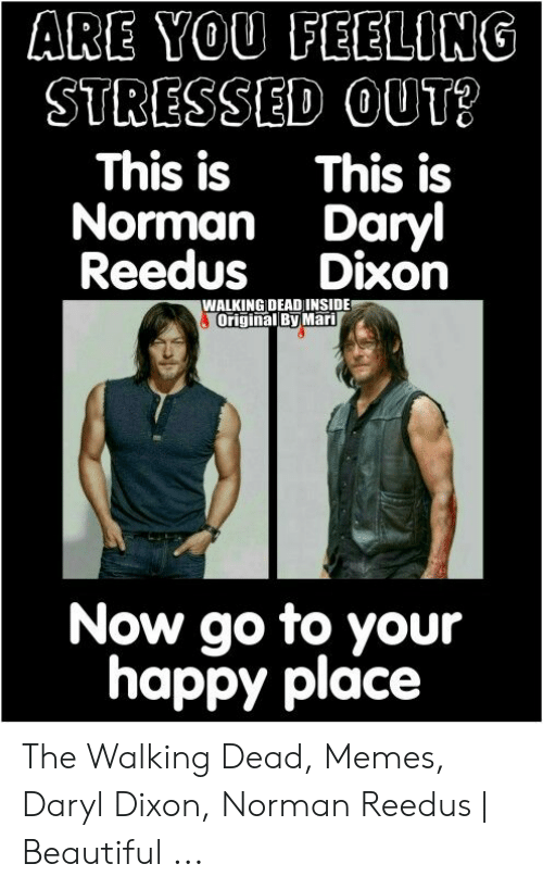Beautiful, Memes, and The Walking Dead: ARE YOU FEELONG  STRESSED OUT?  This isThis is  Norman Daryl  Reedus Dixon  WALKING DEADINSIDE  Original By Mari  Now go to your  happy place The Walking Dead, Memes, Daryl Dixon, Norman Reedus | Beautiful ...
