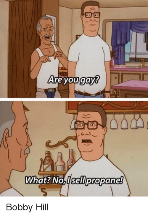 are you gay what no usell propane bobby hill 1348181 are you gay what? no usell propane! bobby hill bobby hill meme,Bobby Hill Meme