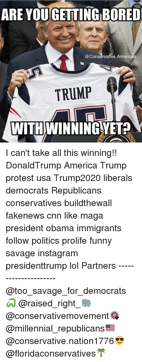 America, Bored, and cnn.com: ARE YOU GETTING BORED  @Conservative American  TRUMP  WITH WINNINGYET? I can't take all this winning!! DonaldTrump America Trump protest usa Trump2020 liberals democrats Republicans conservatives buildthewall fakenews cnn like maga president obama immigrants follow politics prolife funny savage instagram presidenttrump lol Partners --------------------- @too_savage_for_democrats🐍 @raised_right_🐘 @conservativemovement🎯 @millennial_republicans🇺🇸 @conservative.nation1776😎 @floridaconservatives🌴