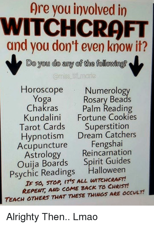 Image result for astrology, tarot, hypnosis is against god