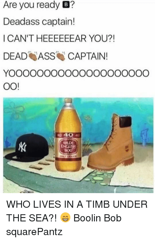 Ass, SpongeBob, and Live: Are you ready  B?  Deadass captain!  I CAN'T HEEEEEEAR YOU?!  DEAD ASS CAPTAIN!  OO!  OLDE WHO LIVES IN A TIMB UNDER THE SEA?! 😁 Boolin Bob squarePantz