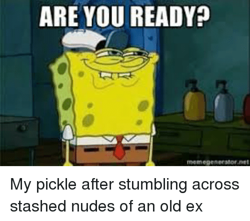 Are You Ready My Pickle After Stumbling Across Stashed Nudes Of An
