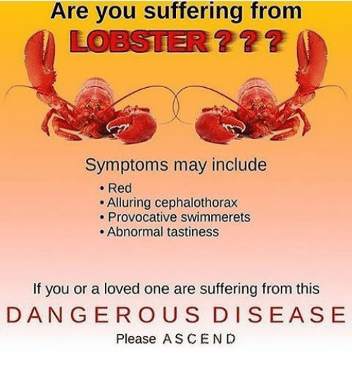 Suffering, Red, and Lobster: Are you suffering from  LOBSTER??2  ? 22  Symptoms may include  . Red  Alluring cephalothorax  . Provocative swimmerets  . Abnormal tastiness  If you or a loved one are suffering from this  DANGER OUS DISEASE  Please ASCEN D