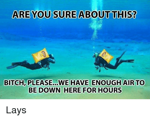 Bitch, Lay's, and Bitch Please: ARE YOU SURE ABOUT THIS?  BITCH, PLEASE...WE HAVE ENOUGH AIR TO  BE DOWN HERE FOR HOURS Lays