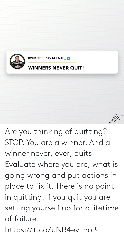 Memes, Lifetime, and What Is: Are you thinking of quitting? STOP.   You are a winner. And a winner never, ever, quits.   Evaluate where you are, what is going wrong and put actions in place to fix it. There is no point in quitting. If you quit you are setting yourself up for a lifetime of failure. https://t.co/uNB4evLhoB