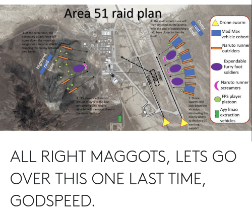 Area 51 Raid Plan 2 the Main Attack Force Will Drone Swarm Then