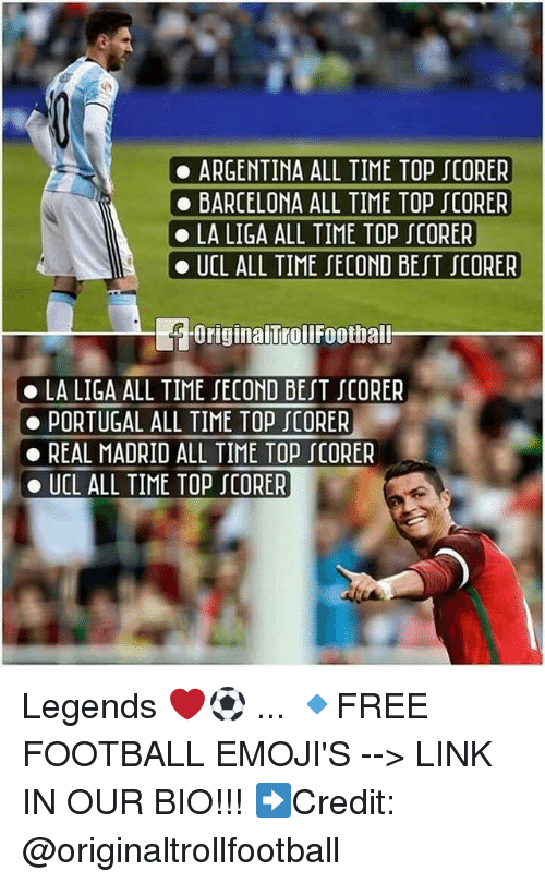 Barcelona, Football, and Memes: . ARGENTINA ALL TIME TOP JCORER  BARCELONA ALL TIME TOP JCORER  LA LIGA ALL TIME TOP『CORER  UCL ALL TIME『ECOND BEIT『CORER  Originalfrollfoothall  . LA LIGA ALL TIME SECOND BEST JCORER  PORTUGAL ALL TIME TOPJCORER  REAL MADRID ALL TIME TOP 0RER  . UCL ALL TIME TOP SCORER Legends ❤️⚽️ ... 🔹FREE FOOTBALL EMOJI'S --> LINK IN OUR BIO!!! ➡️Credit: @originaltrollfootball