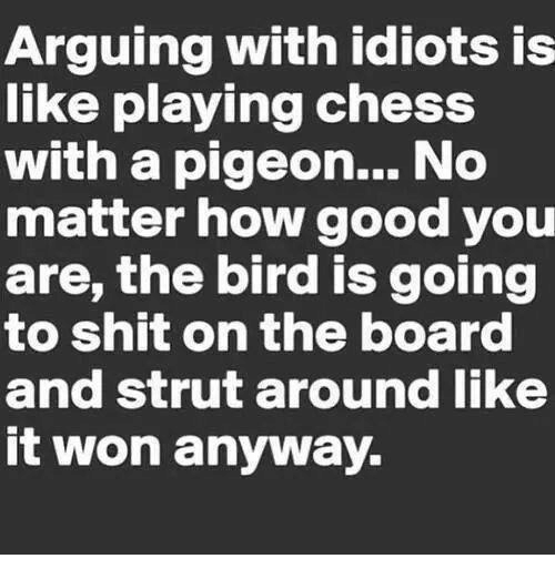 Arguing, Dank, and Shit: Arguing with idiots is  like playing chess  with a pigeon... No  matter how good you  are, the bird is going  to shit on the board  and strut around like  it won anyway.