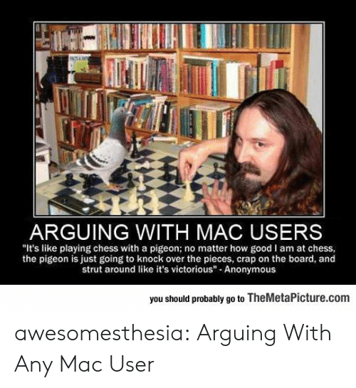 "Tumblr, Anonymous, and Blog: ARGUING WITH MAC USERS  ""It's like playing chess with a pigeon; no matter how good I am at chess  the pigeon is just going to knock over the pieces, crap on the board, and  strut around like it's victorious"" Anonymous  you should probably go to TheMetaPicture.com awesomesthesia:  Arguing With Any Mac User"