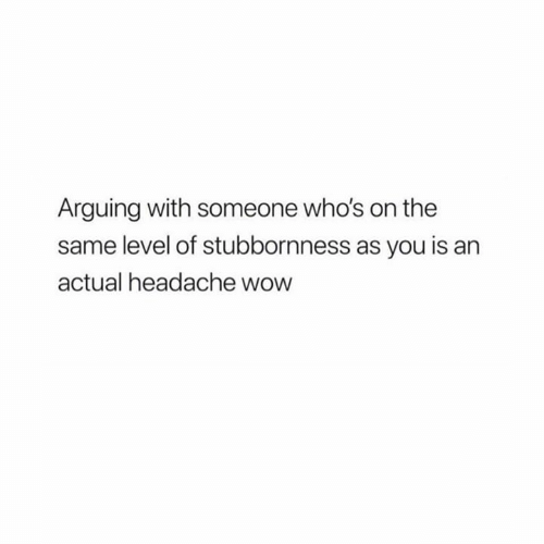 Relationships, Wow, and You: Arguing with someone who's on the  same level of stubbornness as you is an  actual headache wow