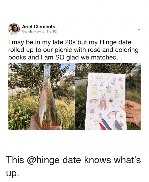 Ariel, Books, and Life: Ariel Clements  @ariels view of life 92  I may be in my late 20s but my Hinge date  rolled up to our picnic with rosé and coloring  books and I am SO glad we matched This @hinge date knows what's up.