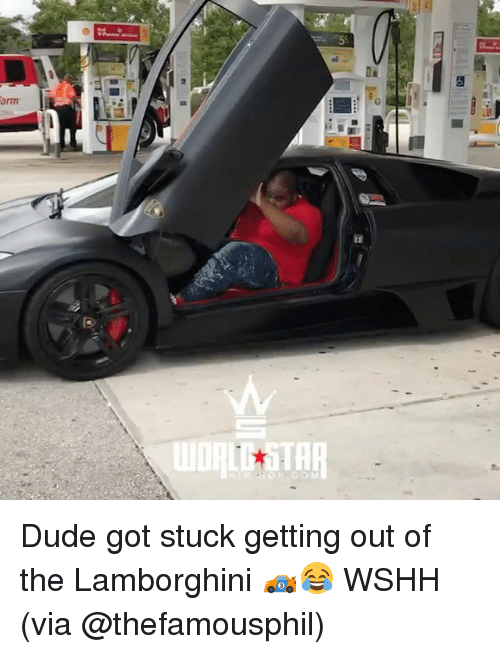 Dude, Memes, and Wshh: arm  tl  TAR Dude got stuck getting out of the Lamborghini 🏎😂 WSHH (via @thefamousphil)