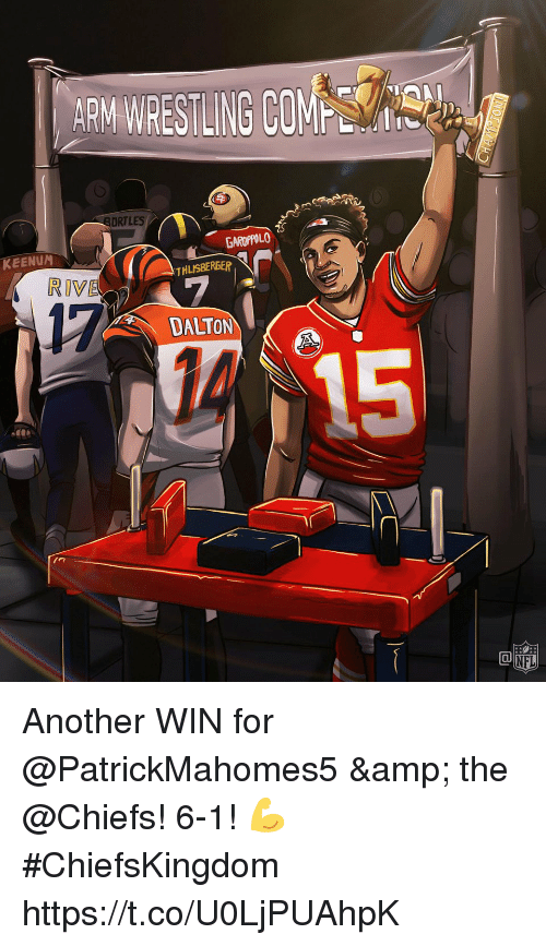 Memes, Wrestling, and Chiefs: ARM WRESTLING COM  SORTLES  GAROPPOLO  KEENUM  THLISBEREER  RIVE  17  DALTON  1回 Another WIN for @PatrickMahomes5 & the @Chiefs! 6-1! 💪 #ChiefsKingdom https://t.co/U0LjPUAhpK