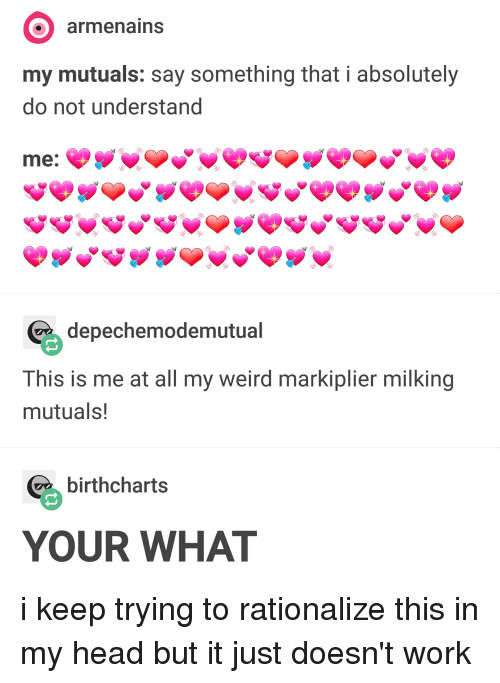 Head, Tumblr, and Weird: armenains  my mutuals: say something that i absolutely  do not understand  depechemodemutual  This is me at all my weird markiplier milking  mutuals!  birthcharts  YOUR WHAT