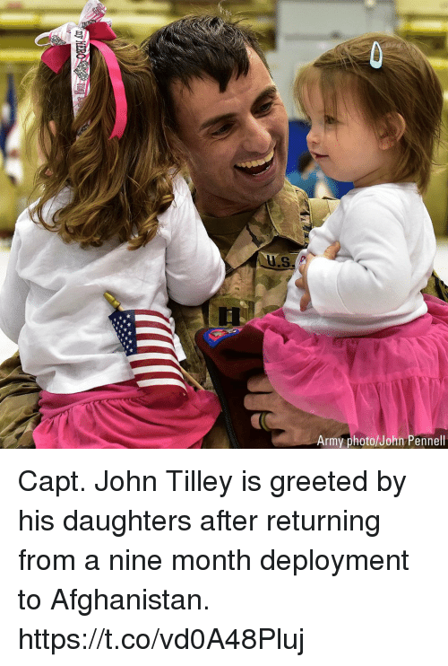 Memes, Army, and Afghanistan: Army photo/John Pennell Capt. John Tilley is greeted by his daughters after returning from a nine month deployment to Afghanistan. https://t.co/vd0A48Pluj