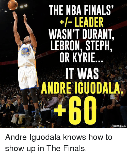 Finals, Memes, and Nba: ARR  THE NBA FINALS'  LEADER  WASN'T DURANT  LEBRON, STEPH,  OR KYRIE  IT WAS  ANDRE IGUODALA  acBs Sports Andre Iguodala knows how to show up in The Finals.