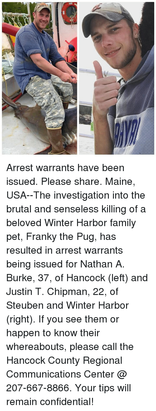 Family, Memes, and Winter: Arrest warrants have been issued. Please share. Maine, USA--The investigation into the brutal and senseless killing of a beloved Winter Harbor family pet, Franky the Pug, has resulted in arrest warrants being issued for Nathan A. Burke, 37, of Hancock (left) and Justin T. Chipman, 22, of Steuben and Winter Harbor (right). If you see them or happen to know their whereabouts, please call the Hancock County Regional Communications Center @ 207-667-8866. Your tips will remain confidential!