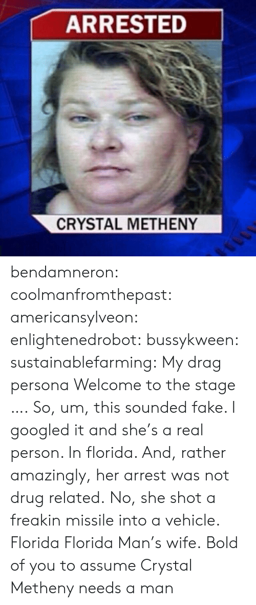Fake, Florida Man, and Tumblr: ARRESTED  CRYSTAL METHENY bendamneron:  coolmanfromthepast:  americansylveon:   enlightenedrobot:  bussykween:  sustainablefarming: My drag persona Welcome to the stage ….  So, um, this sounded fake. I googled it and she's a real person. In florida. And, rather amazingly, her arrest was not drug related. No, she shot a freakin missile into a vehicle.   Florida   Florida Man's wife.   Bold of you to assume Crystal Metheny needs a man