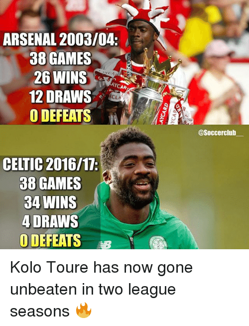 Arsenal, Celtic, and Club: ARSENAL 2003/04.  38 GAMES  26 WINS  12 DRAWS  O DEFEATS  CELTIC 2016/17:  38 GAMES  34 WINS  4 DRAWS  0 DEFEATS  @Soccer club Kolo Toure has now gone unbeaten in two league seasons 🔥