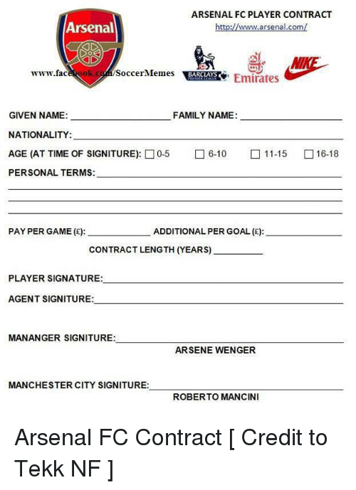 Arsenal fc player contract arsenal www arsenalcom wwwfac for Football contract template