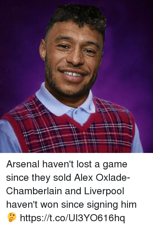 Arsenal, Soccer, and Lost: Arsenal haven't lost a game since they sold Alex Oxlade-Chamberlain and Liverpool haven't won since signing him 🤔 https://t.co/UI3YO616hq