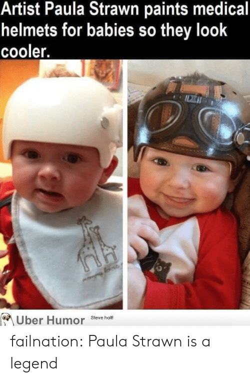 Tumblr, Uber, and Blog: Artist Paula Strawn paints medical  helmets for babies so they look  cooler.  Uber Humor  Steve holt! failnation:  Paula Strawn is a legend