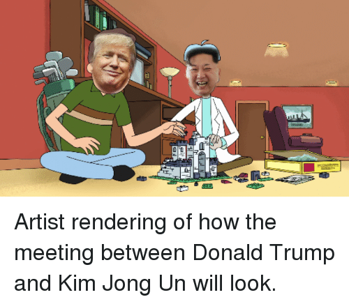 562393bed92 Artist Rendering of How the Meeting Between Donald Trump and Kim ...
