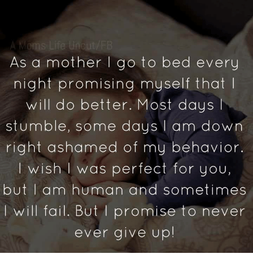 Fail, Memes, and Never: As a mother go to bed every  night promising myself that  will do better. Most days l  stumble, some days  I am down  right ashamed of my behavior.  I wish was perfect for you,  but I am human and sometimes  will fail. But promise to never  ever give up!