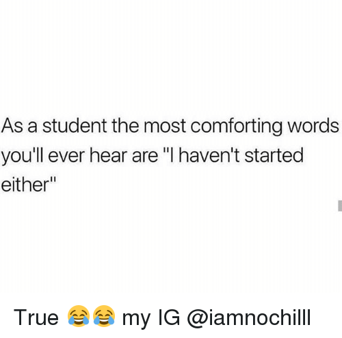 "Funny, True, and Student: As a student the most comforting words  youll ever hear are ""I haven't started  either"" True 😂😂 my IG @iamnochilll"