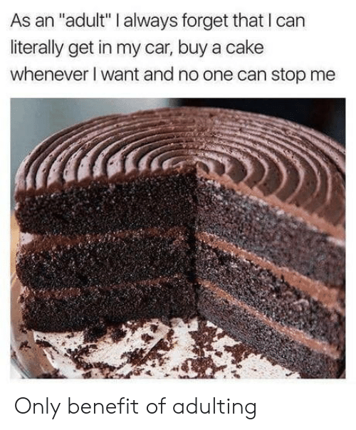 "Cake, Car, and Can: As an ""adult"" I always forget that I can  literally get in my car, buy a cake  whenever I want and no one can stop me Only benefit of adulting"