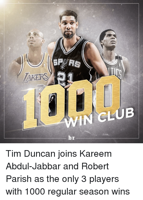 Sports, Tim Duncan, and Kareem Abdul-Jabbar: as  ana  自 Tim Duncan joins Kareem Abdul-Jabbar and Robert Parish as the only 3 players with 1000 regular season wins