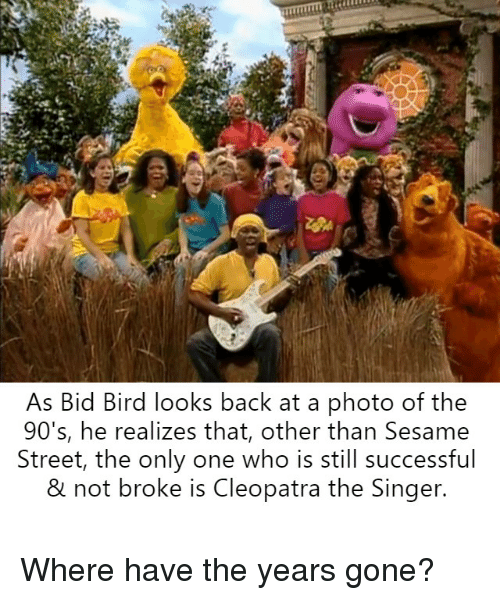 Sesame Street, Only One, and Bertstrips: As Bid Bird looks back at a photo of the  90's, he realizes that, other than Sesame  Street, the only one who is still successful  & not broke is Cleopatra the Singer. Where have the years gone?