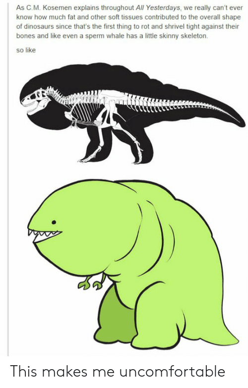 Bones, Skinny, and Tumblr: As C.M. Kosemen explains throughout All Yesterdays, we really can't ever  know how much fat and other soft tissues contributed to the overall shape  of dinosaurs since that's the first thing to rot and shrivel tight against their  bones and like even a sperm whale has a little skinny skeleton.  so like This makes me uncomfortable