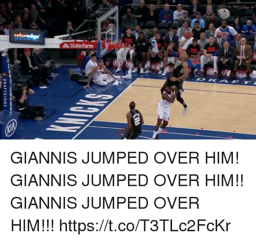 Memes, Jumped, and 🤖: as DRAFTKINGS GIANNIS JUMPED OVER HIM!  GIANNIS JUMPED OVER HIM!! GIANNIS JUMPED OVER HIM!!! https://t.co/T3TLc2FcKr