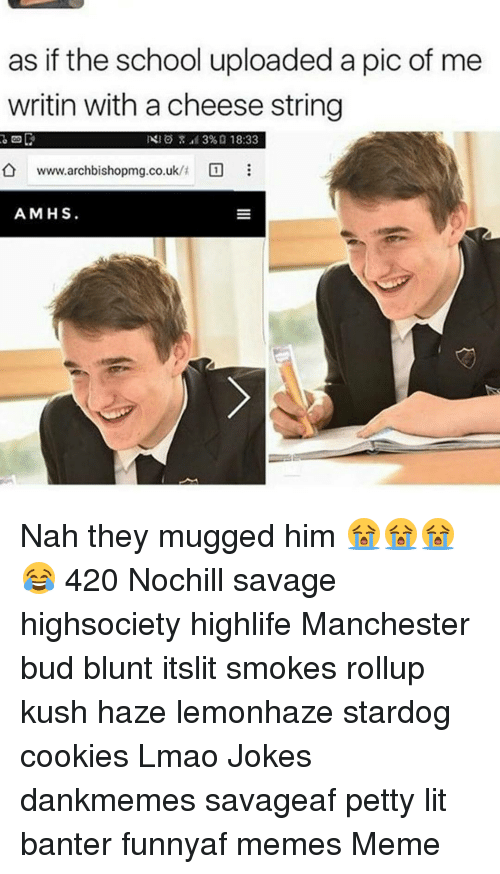 Cookies, Lit, and Lmao: as if the school uploaded a pic of me  writin with a cheese string  NIO 39%, 18:33  www.archbishopmg.co.uk/t  A MHS Nah they mugged him 😭😭😭😂 420 Nochill savage highsociety highlife Manchester bud blunt itslit smokes rollup kush haze lemonhaze stardog cookies Lmao Jokes dankmemes savageaf petty lit banter funnyaf memes Meme