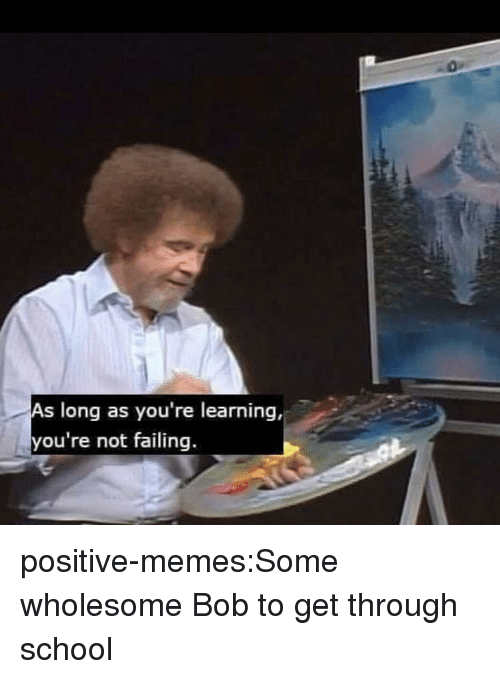Memes, School, and Tumblr: As long as you're learning,  you're not failing. positive-memes:Some wholesome Bob to get through school