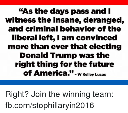 """Memes, 🤖, and Lucas: """"As the days pass and I  witness the insane, deranged,  and criminal behavior of the  liberal left, I am convinced  more than ever that electing  Donald Trump was the  right thing for the future  of America.  w Kelley Lucas Right? Join the winning team: fb.com/stophillaryin2016"""
