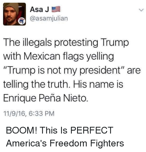 Memes Protest And Mexican Asa J E Asamjulian The Illegals Protesting Trump