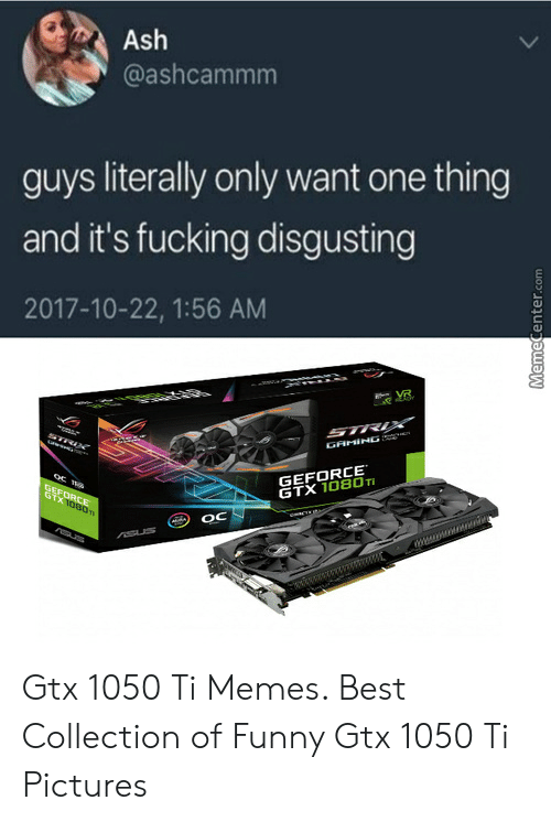 Ash, Fucking, and Funny: Ash  @ashcammm  guys literally only want one thing  and it's fucking disgusting  2017-10-22, 1:56 AM  OU  GAMING :  GEFORCE  GTX 1080Ti  OC Gtx 1050 Ti Memes. Best Collection of Funny Gtx 1050 Ti Pictures