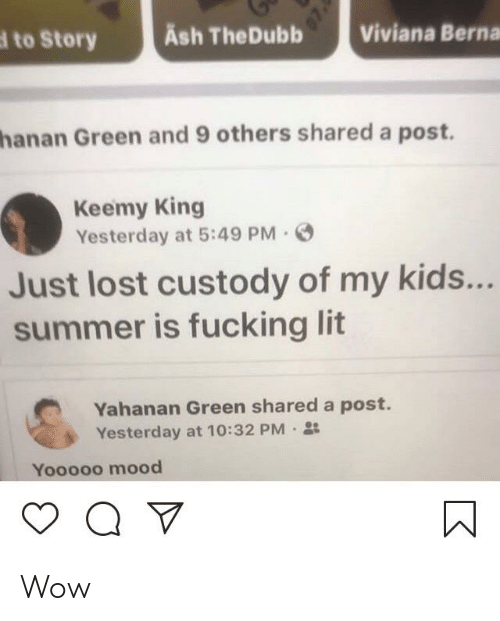 Ash, Fucking, and Lit: Ash TheDubb  Viviana Berna  to Story  hanan Green and 9 others shared a post.  Keemy King  Yesterday at 5:49 PM  Just lost custody of my kids...  summer is fucking lit  Yahanan Green shared a post.  Yesterday at 10:32 PM  Yooooo mood Wow