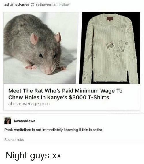 Memes, Holes, and Minimum Wage: ashamed-ariessetheverman Follovw  Meet The Rat Who's Paid Minimum Wage To  Chew Holes In Kanye's $3000 T-Shirts  aboveaverage.com  fozmeadows  Peak capitalisim is not immediately knowing if this is satine  Source: fuks Night guys xx