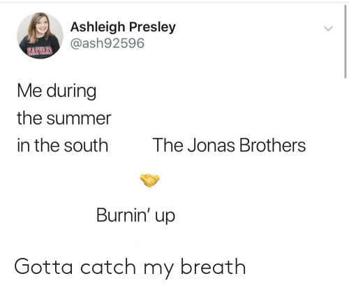 Summer, Jonas Brothers, and Brothers: Ashleigh Presley  @ash92596  HARVARI  Me during  the summer  in the south  The Jonas Brothers  Burnin' up Gotta catch my breath