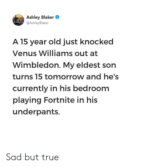 True, Tomorrow, and Venus: Ashley Blaker  @AshleyBlaker  A 15 year old just knocked  Venus Williams out at  Wimbledon. My eldest son  turns 15 tomorrow and he's  currently in his bedroom  playing Fortnite in his  underpants. Sad but true
