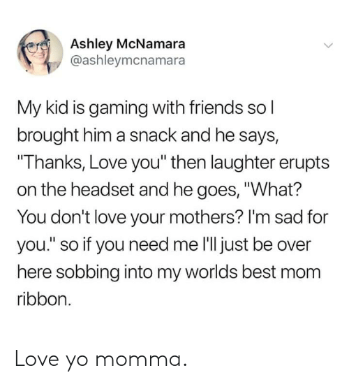 """Dank, Friends, and Love: Ashley McNamara  @ashleymcnamara  My kid is gaming with friends sol  brought him a snack and he says,  Thanks, Love you"""" then laughter erupts  on the headset and he goes, """"What?  You don't love your mothers? I'm sad for  you."""" so if you need me l'lljust be over  here sobbing into my worlds best mom  ribbon. Love yo momma."""