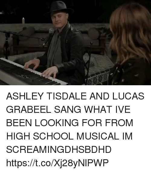 Funny, High School Musical, and School: ASHLEY TISDALE AND LUCAS GRABEEL SANG WHAT IVE BEEN LOOKING FOR FROM HIGH SCHOOL MUSICAL IM SCREAMINGDHSBDHD https://t.co/Xj28yNlPWP
