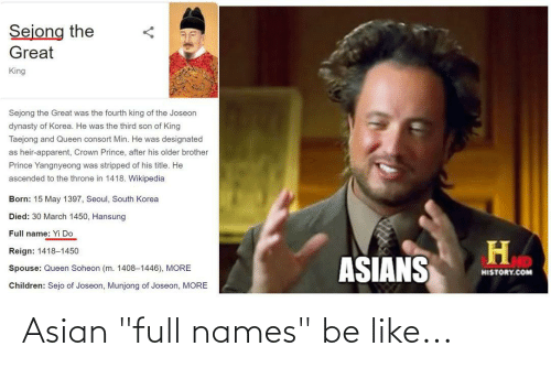 """Asian, Be Like, and Names: Asian """"full names"""" be like..."""